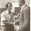 Mauser se poslavlja od Mihe Burja ob odhodu v ZDA 1950